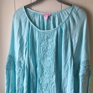 {LilyPulitzer} L/S Top with crocheted detail